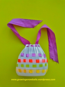 Vinegar bottle completed with paper weave