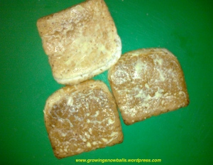 Lamington Pudding buttered crusts
